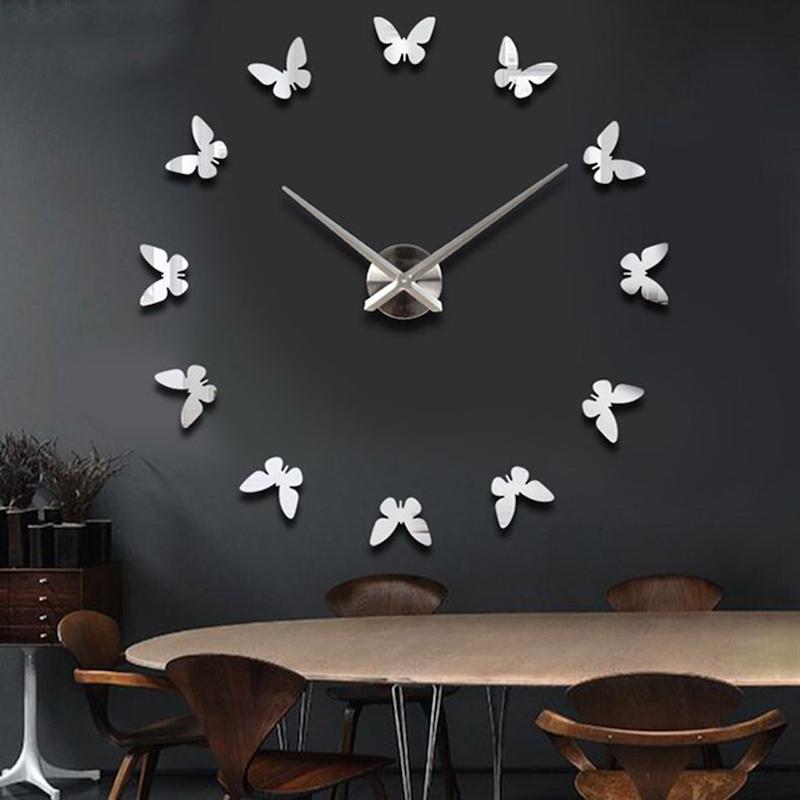 3d diy wall clock – butterfly design - esanduk nepal